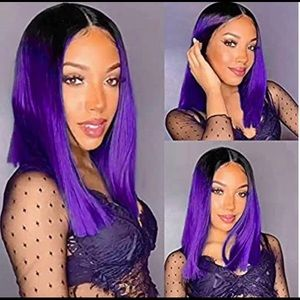 Black Purple Ombré Straight Synthetic Wig NWT